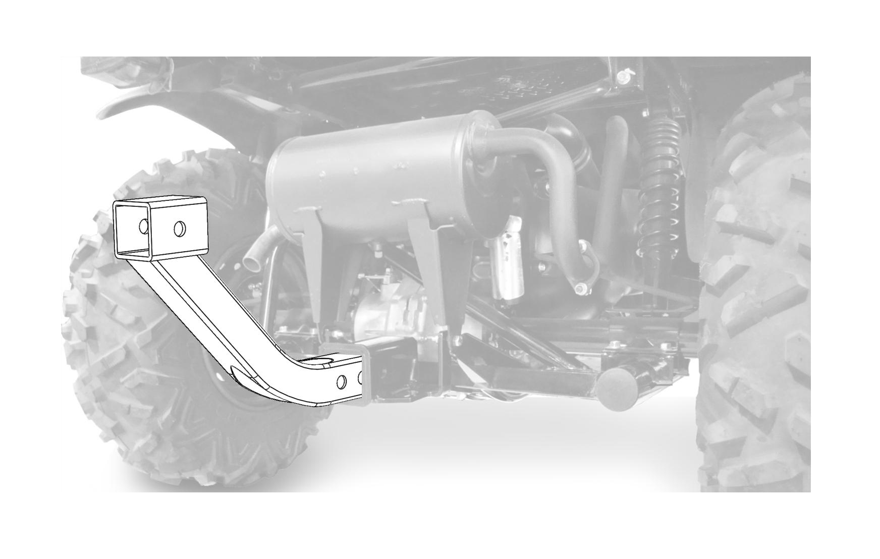 ATV//UTV Receiver Hitch Riser U-4044 Hornet Outdoors Steel Welded Powder Coated Made in USA